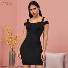ADYCE 2020 nowy Off ramię bandażowa sukienka kobiety Vestido Sexy V Neck Spaghetti pasek klub suknie wieczorowe w stylu gwiazd