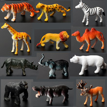 Mini Realistic Safari Wild Zoo Animals Action Figure Jungle Animals Toys Set with Tiger, Lion, Elephant,Giraffe Eduactional Toys(China)