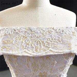 Image 5 - שלווה היל סגול תחרה ואגלי פרל שרוולים שמלות כלה 2020 כבוי כתף סקסי כלה שמלות DHM67082 תפור לפי מידה