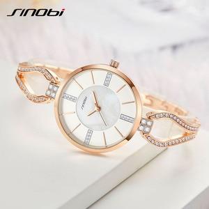Image 2 - SINOBI relojes de lujo para mujer, pulsera de diamante, elegante, de cuarzo, femenino