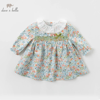 DBM12791-1 dave bella spring baby girl's princess bow floral print dress children fashion party dress kids infant lolita clothes image