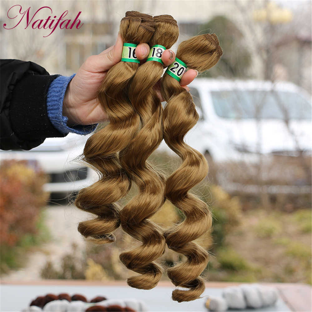 Natifah Loose Wave Synthetic Hair Bundles Hair Extension 16 18 20 Inches 70g/pcs Black Blonde Silver Grey Hair Wig