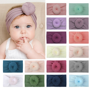 HOT! 2020 Kids Hairband Eamless Super Soft Nylon Donut Spring Summer Solid Color Elastic Baby Girl Headbands Hair Accessories