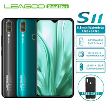 "LEAGOO S11 4GB 64GB Android 9.0 6.3"" Waterdrop Display Smartphone Helio P22 Octa Core 13MP Dual Camera Fingerprint Mobile Phone(China)"