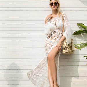 Image 5 - 2020 Crochet Tunic Beach Dress Cover ups Summer Women Beachwear Sexy Hollow Out Knitted Swimsuit Cover Up Robe de plage #Q716