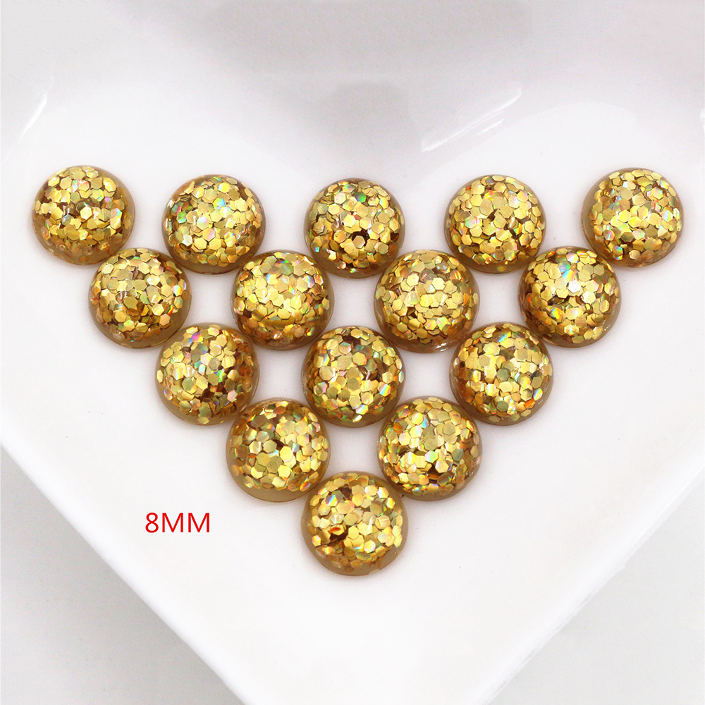 New Fashion 40pcs 8mm Gold Color Flat Back Resin Cabochons Cameo  O7-05