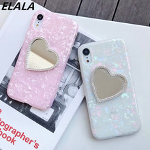 Elala Color Marble Case For iPhone X Love Heart Makeup Mirror Glossy Glitter Diamond Cover 6s 7 8Plus XSMax XR
