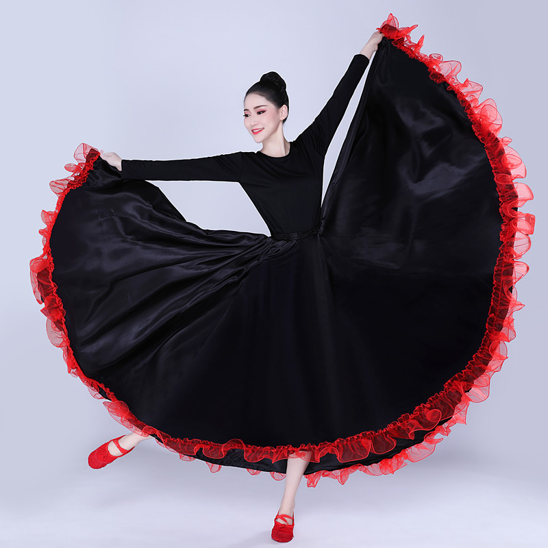 Dance Big Swing Skirt Spanish Bullfighting Opening Dance Skirt Women Performance Gypsy Wear Dress Adult Lady Belly Dance Costume
