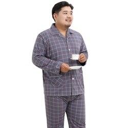 Пижамные комплекты размера плюс 140 кг XXXXXL из 100% хлопка, Мужская одежда для сна, новинка, Лидер продаж 2020, простая осенне-зимняя повседневная К...