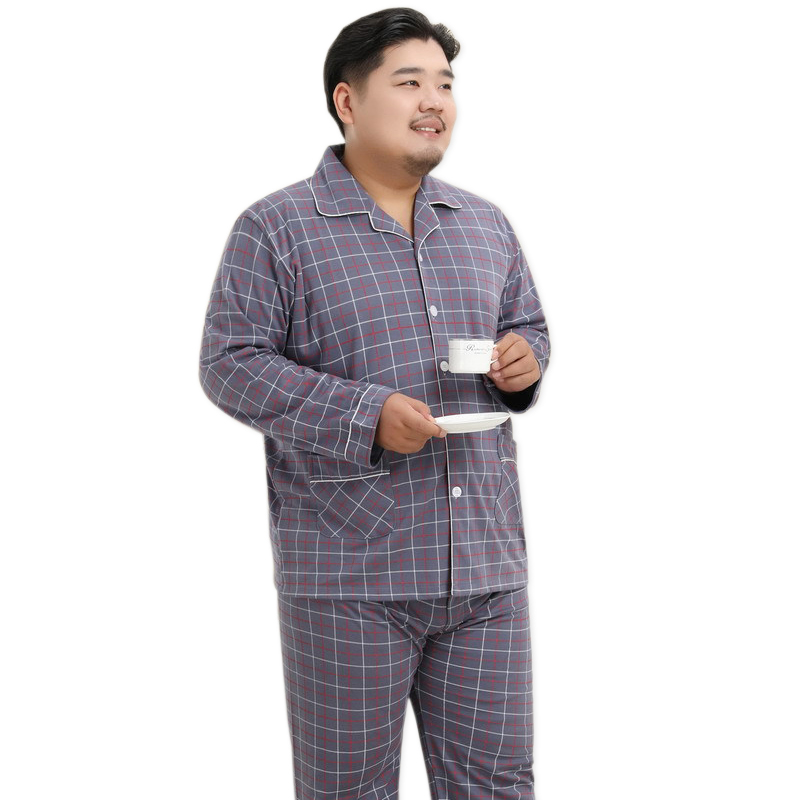 Plus Size 140kg XXXXXL 100% Cotton Pajama Sets Mens Sleepwear New Hot Sale 2020 Simple Autumn Winter Casual Plaid Men Pyjamas