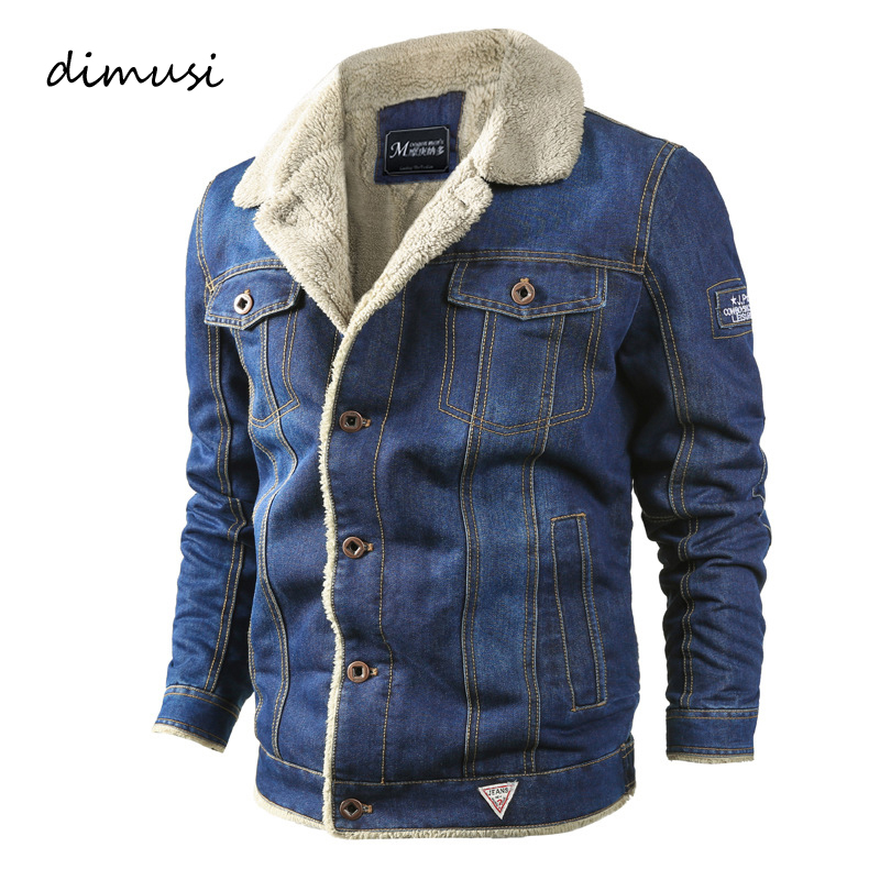 DIMUSI Winter Mens Denim Jacket Trendy Fleece Warm Denim Jackets Men Jean Jackets Male Windbreaker Cowboy Bomber Coats 6XL