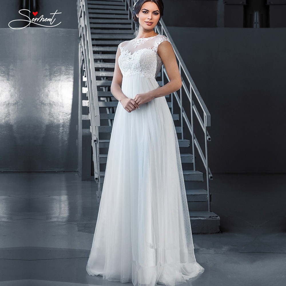 SERMENT Simple Lace Sleeve Wedding Dress Off The Shoulder Suitable For Pregnant Women 100cm Tail Spring Summer Autumn Wedding