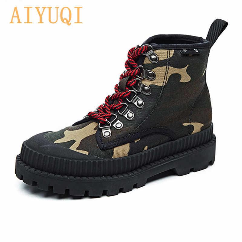 AIYUQI Motosiklet Botları Kadın 2019 Yeni Martin Çizmeler Kadın İngiliz Tarzı Askeri Ayakkabı Sonbahar Kore Vahşi Kanvas Botlar Kadınlar