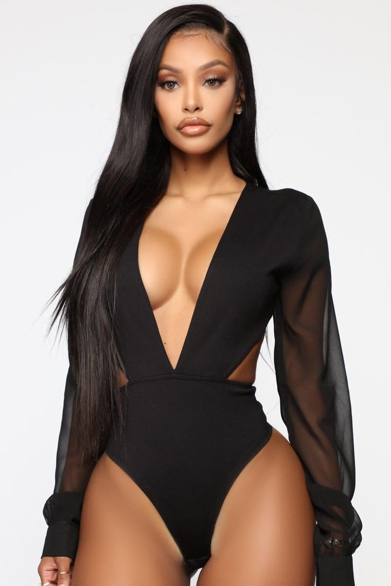 Body sexy com renda decote em v feminino, body para mulheres, decote profundo, manga alargamento, macacão, costas nuas, malha, manga longa, para fora, 2019