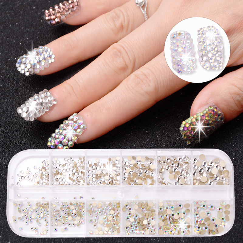 12 Boxes / Set of AB Crystal Rhinestone Diamond Gem 3D Glitter Dazzling Colours Nail Art Decoration Beautiful Girls 1