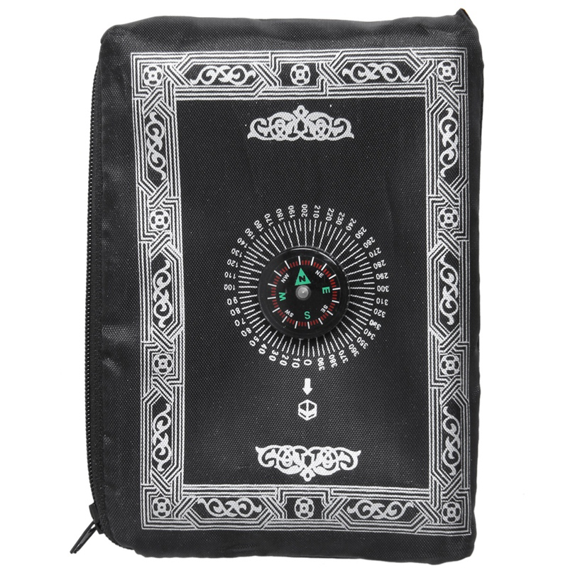 Ramadan Islamic And Muslim Travel Prayer Mats,Compass Pocket Size Tote Bags BlackCarpet