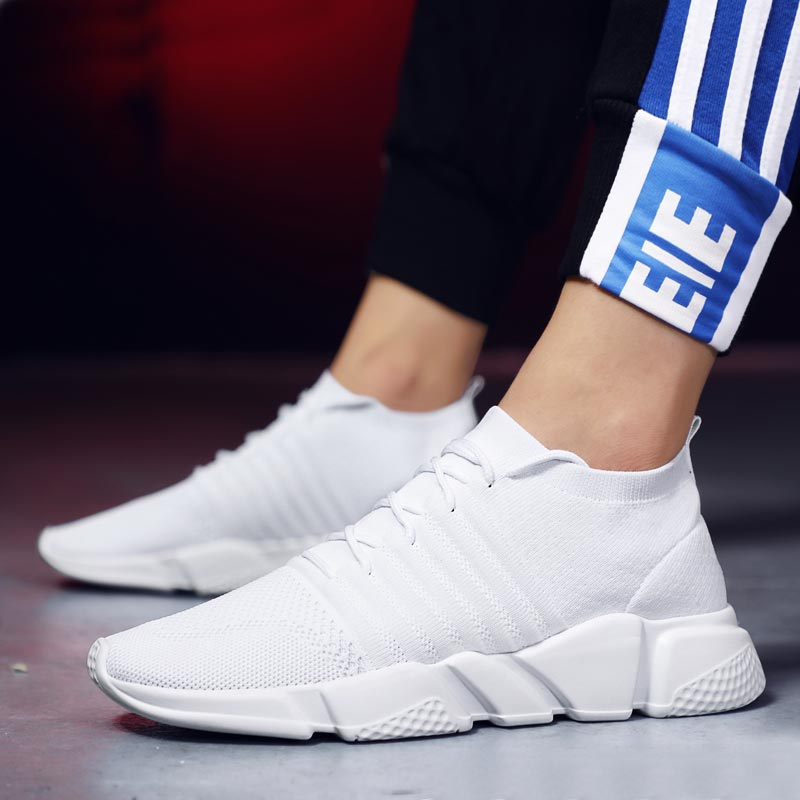 Plus Size Light Weight Trainers Male Sock Sneakers Men Sport <font><b>Shoes</b></font> Male Sports <font><b>Shoes</b></font> Men Running <font><b>Shoes</b></font> White Basket Runner E-<font><b>361</b></font> image