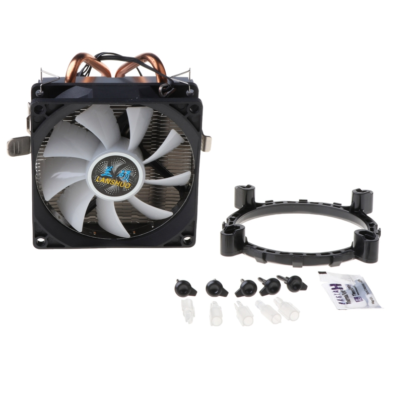 CPU Cooler 2 Copper Heat Pipes 3Pin CPU Cooling Fan with 5 Colors Light for LGA 1151/1155/1156/AM2+/AM3+/AM4