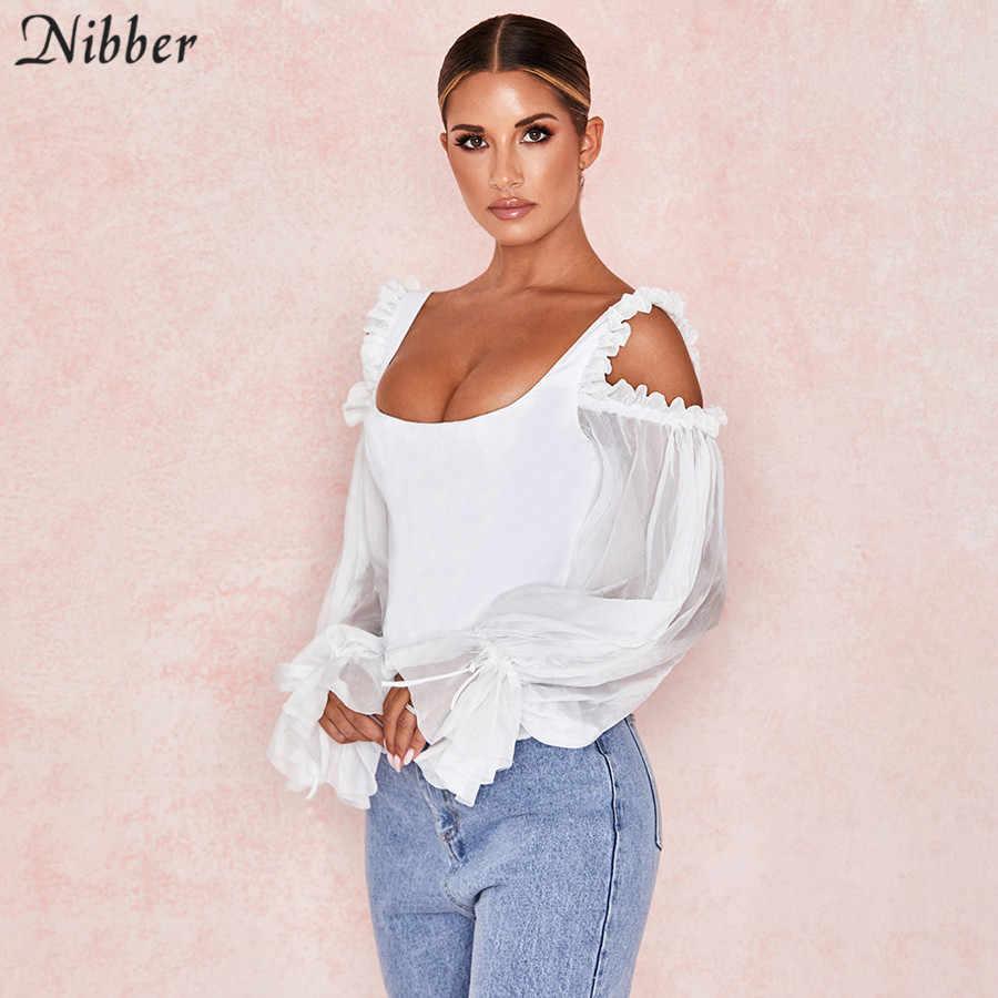 Nibber jesień francuski romans biały krótki top kobiety off ramię T-shirt mujer biuro pani czystego ulicy elegancki wypoczynek potargane tee