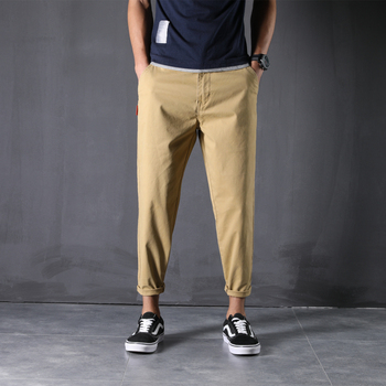 100% Cotton New Pants Man 28-48 Large Size Ankle-Length Harem Trousers Loose Comfortable Classic Causal Daily Clothes - 44, Khaki