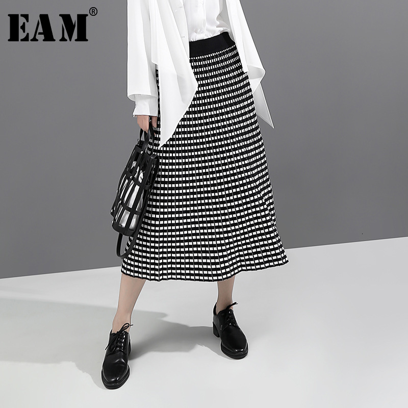 [EAM] High Elastic Waist Black Plaid Printed Temperament Half-body Skirt Women Fashion Tide New Spring Autumn 2019 1D749