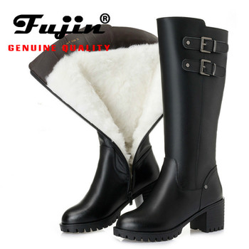 Fujin Snow Boots Genuine Leather Wool Women Fashion Zipper Warm Fur Warm Shoes Plush Boots Platform for Women Winter High Boots