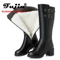 Fujin Snow Boots Genuine Leather Wool Women Fashion Zipper Warm Fur Warm Shoes Plush Boots Platform for Women Winter High Boots