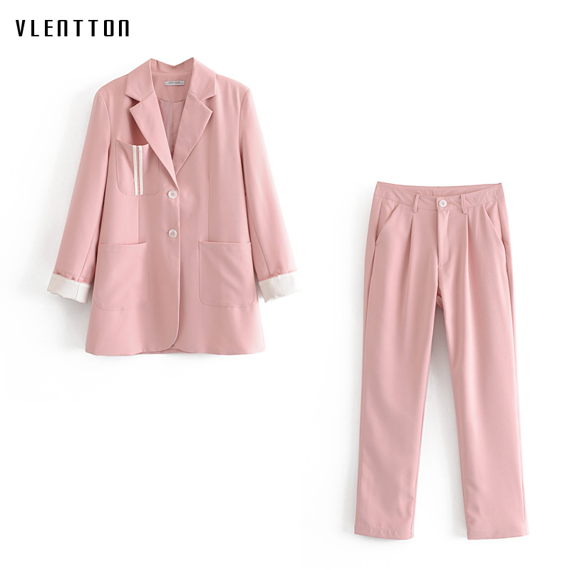 2019 Autumn Candy Colors Casual Women Pant Suits Notched Chic Long Office Blazer Jacket Coat & Female Trouser Two Piece Set Pink