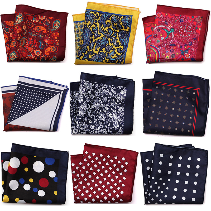New Fashion Men Handkerchief Pocket Square Popular 25 X 25CM Large Man Paisley Dot Chest Hankies For Wedding Men's Suit