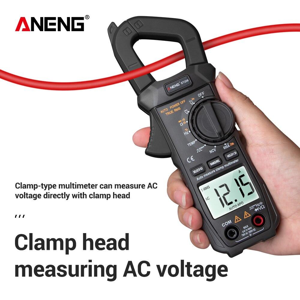 Aneng st209 디지털 멀티 미터 클램프 미터 6000 true rms amp dc/ac 전류 클램프 테스터 미터 전압계 400v 자동 범위