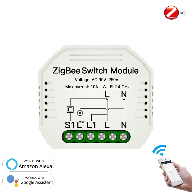 New Professional Mini DIY Tuya ZigBee 3.0 Smart Light Switch Module Smart Life/Tuya Remote Control Work With Alexa Google Home