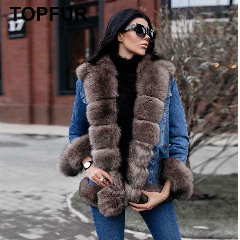 TOPFUR 2019 Fashion Real Fur Coat Women Casual Denim Jacket For Women With Luxury Fox Fur Collar Real Fox Fur Parka Women Jeans