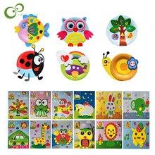 Stickers Creative Paper-Plate Educational-Toys Colorful Children DIY EVA 3D 7pcs/Lot