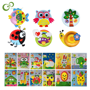 7Pcs/lot 3D creative DIY EVA cartoon stickers educational toys colorful paper plate handmade material children toy set YJN