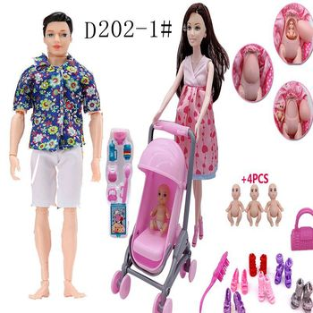 People Family Doll Suits Mom/ Dad/ Son Baby/ Kelly/Carriage Girls Toys Fashion Pregnant Doll Kid Toys the kelly family chemnitz