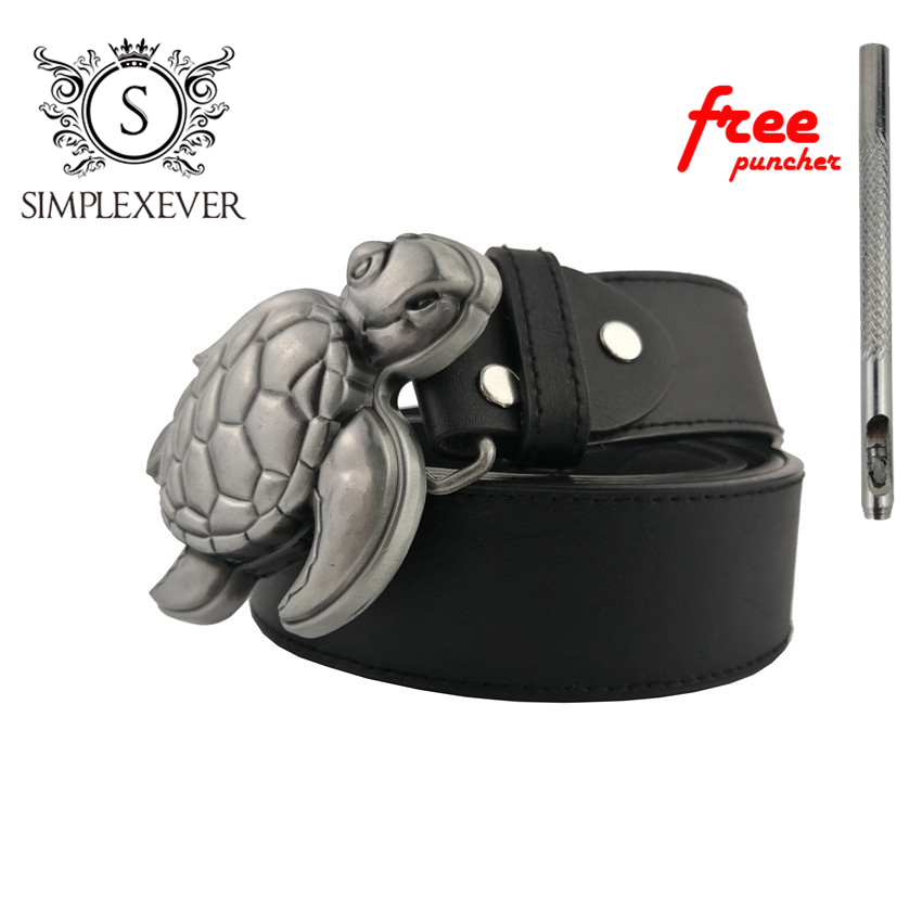 Belts With Silver Tortoise Belt Buckle Solid Men's Belt Buckles With Leather Belt And Free Puncher As Birthday Gifts