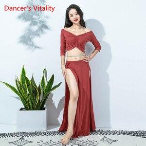 Image 4 - New Women Bellydance Costume 2 Piece Set White Sexy Long Sleeve Oriental Dance Performance Show WearModal Blouse Side Slit Skirt