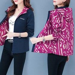 New Double-sided Wear Windbreaker Female Spring Autumn Clothes Korean Print Hooded Short Jacket Plus Size 4XL Women Coats Tops