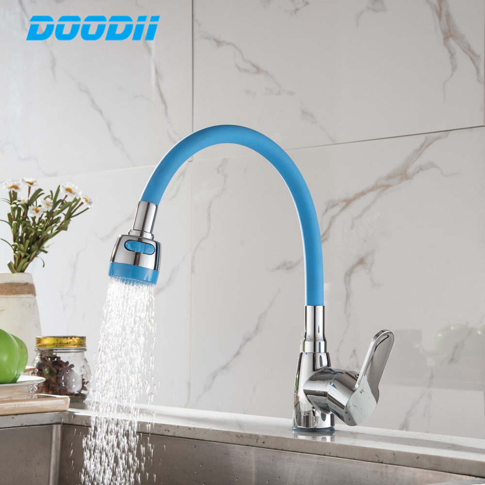 Any Direction Kitchen Faucet Cold And Hot Water Mixer Single Handle Taps Torneira Cozinha Black White Pink Silica Gel Nose