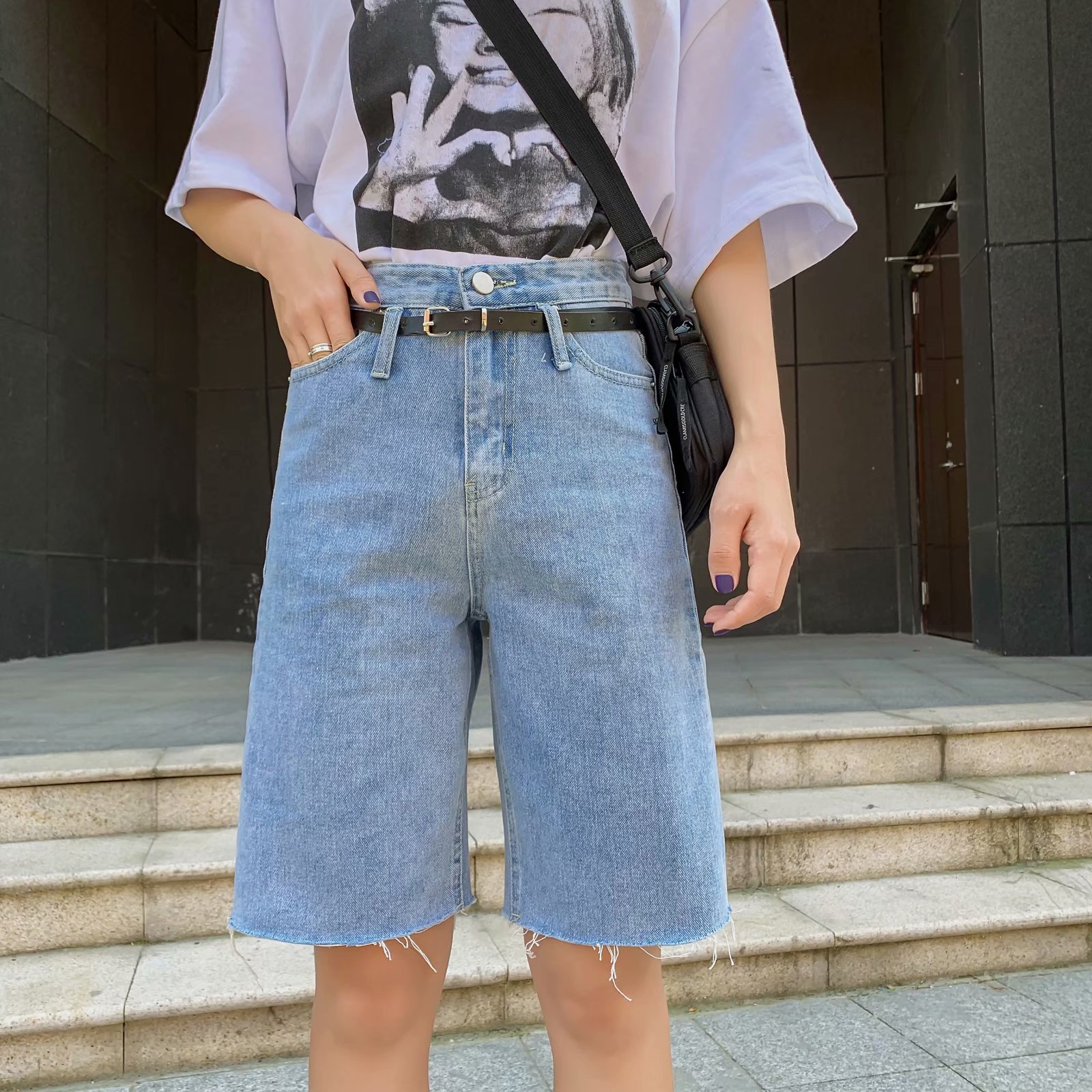 Toppies Denim Short Pants High Waist Knee Length Pants Belt Korean Fashion Short Trousers Streetwear