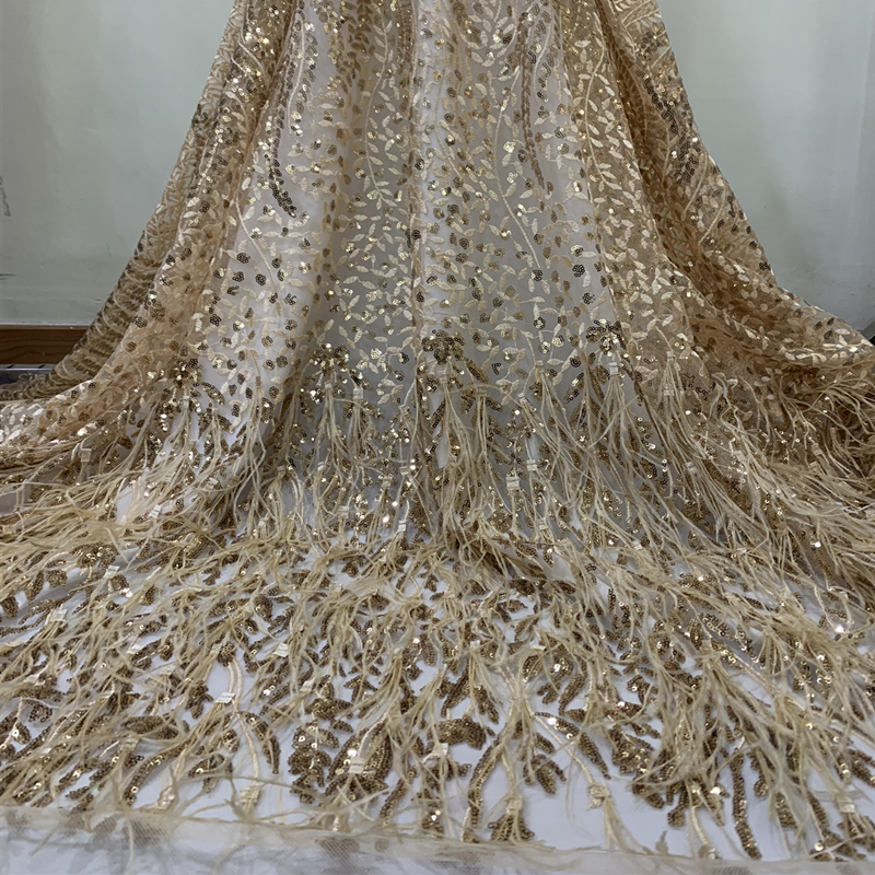 Latest Tassels Sequins African Lace Elastic Fabrics 2019 Sequined Embroidered Nigerian Feather Tulle Lace Wedding Fabrics
