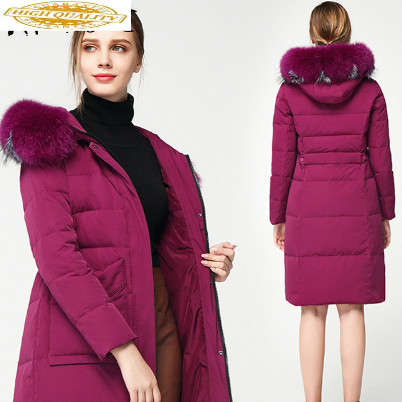 90% White Duck Down Jacket Women Korean Winter Coat Women Puffer Jacket Women Real Raccoon Fur Collar Warm Parka 618616 YY1655