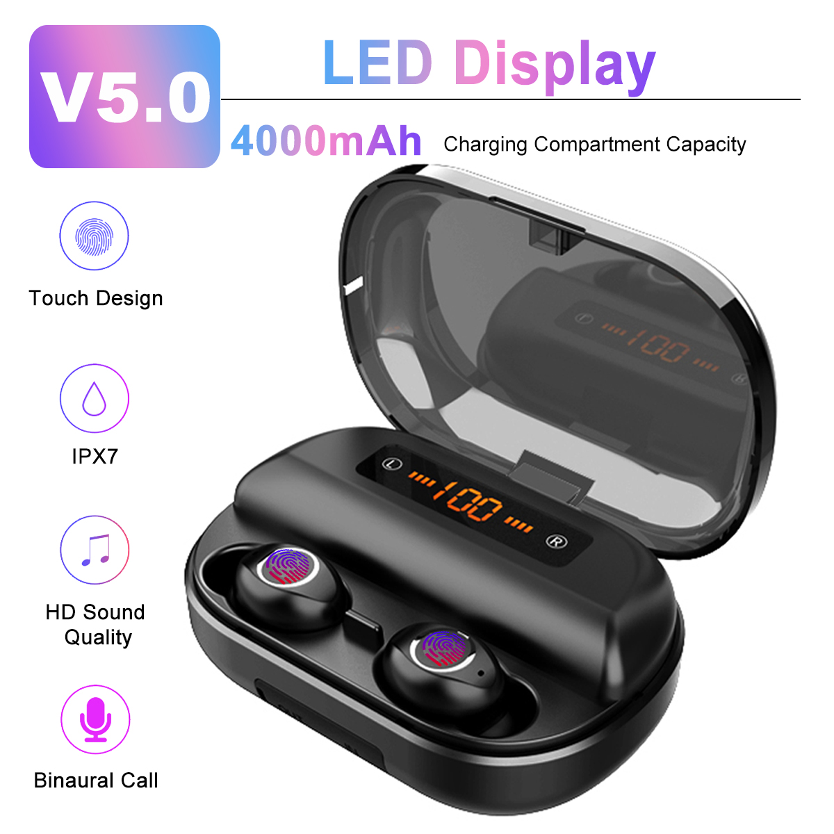 TWS bluetooth 5.0 Earphone LED Display Stereo Wireless Earbuds <font><b>4000mAh</b></font> <font><b>Power</b></font> <font><b>Bank</b></font> IPX7 Waterproof Touchs Sport Headset image