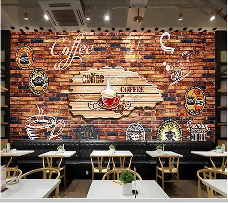 Café vintage brique mur 3d papier peint papel de parede, salon tv canapé mur chambre papiers peints décor à la maison café bar mural