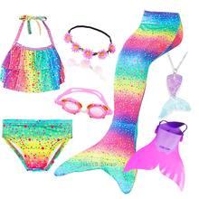 Conjunto de Bikini con cola de sirena para niños, bañador con cola de sirena, traje de baño para niñas