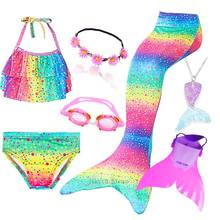 Kids Swimming Mermaid Tail Bikini Set can add with Monofin Flipper Costumes Cosplay Swimsuit  Bathing Suit for Girls