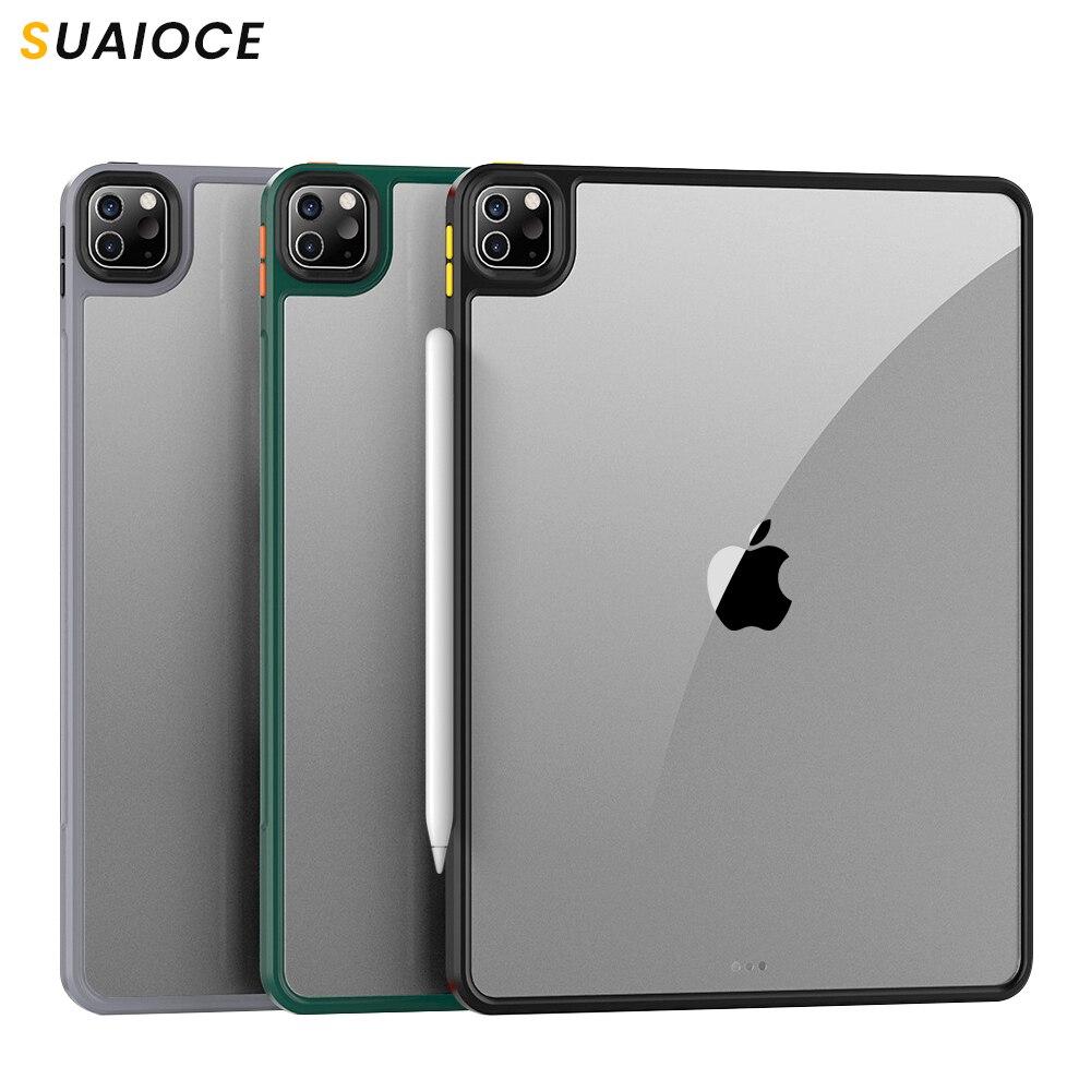 Suaioce capa protetora tablet para ipad pro 11 12.9 caso 2020 ultra fino à prova de choque capa clara de volta para ipad pro caso 11 polegada