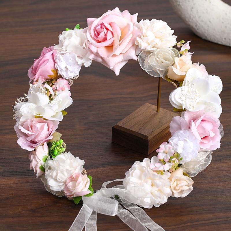 3 Design Artificial Flower Wreath Bride Women Flower Crown Hair Band Wedding Floral Headband Garland Ribbon Girl Hair Accessorie