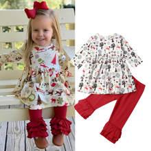 Новые рождественские наряды для маленьких девочек детские топы