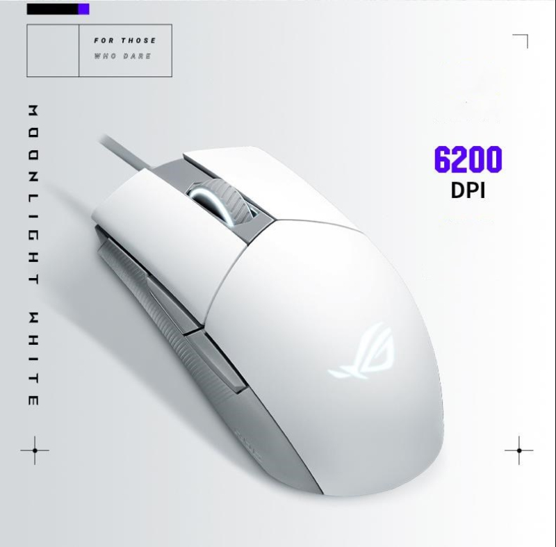 Permalink to New ROG Strix Impact II Moonlight White gaming mouse 6200DPI Professional wired optical game Mouse
